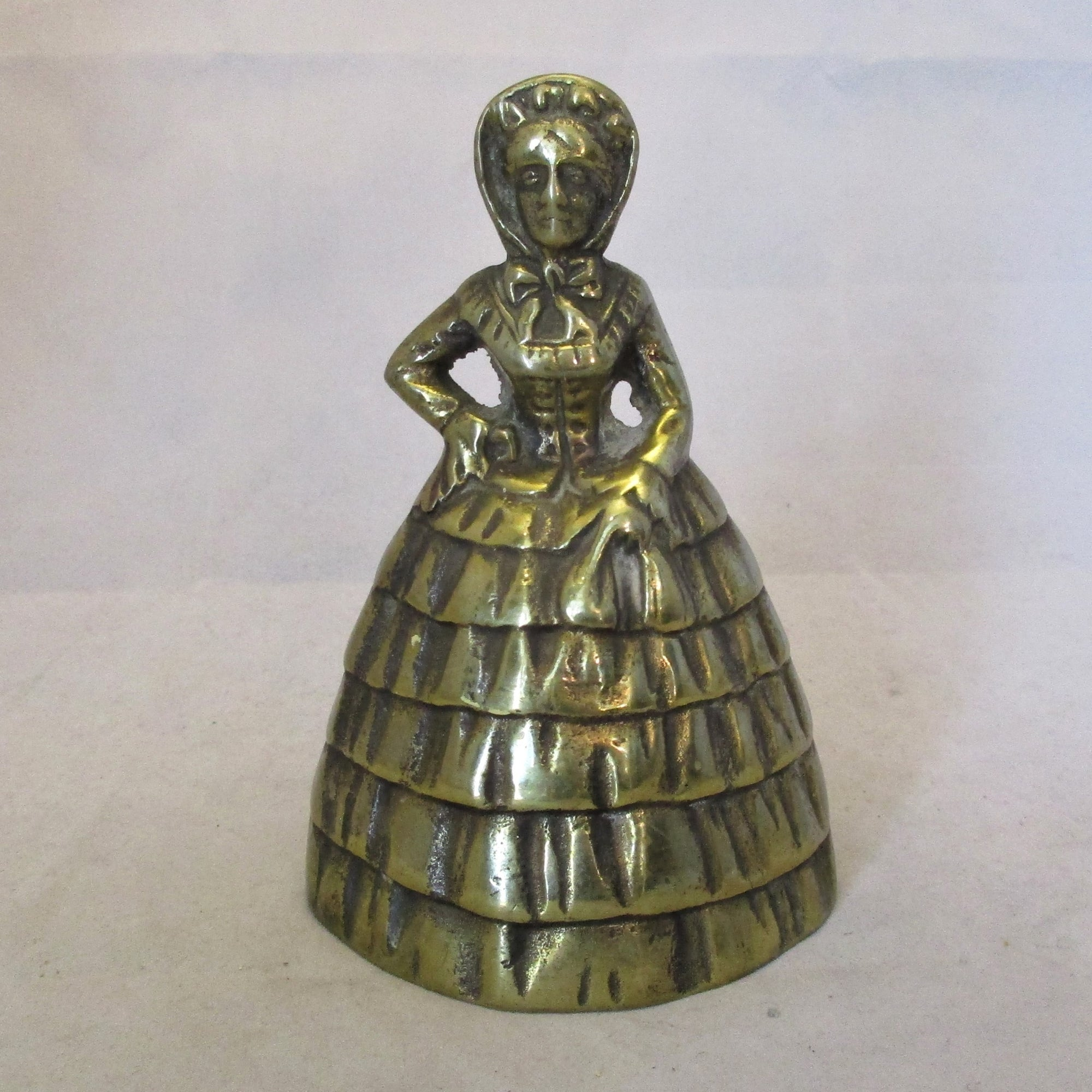 Brass Table Bell In The Form Of A Lady Antique c.1900.