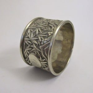 Chinese Silver Bamboo Leaf Napkin Ring Holder Antique c.1900.