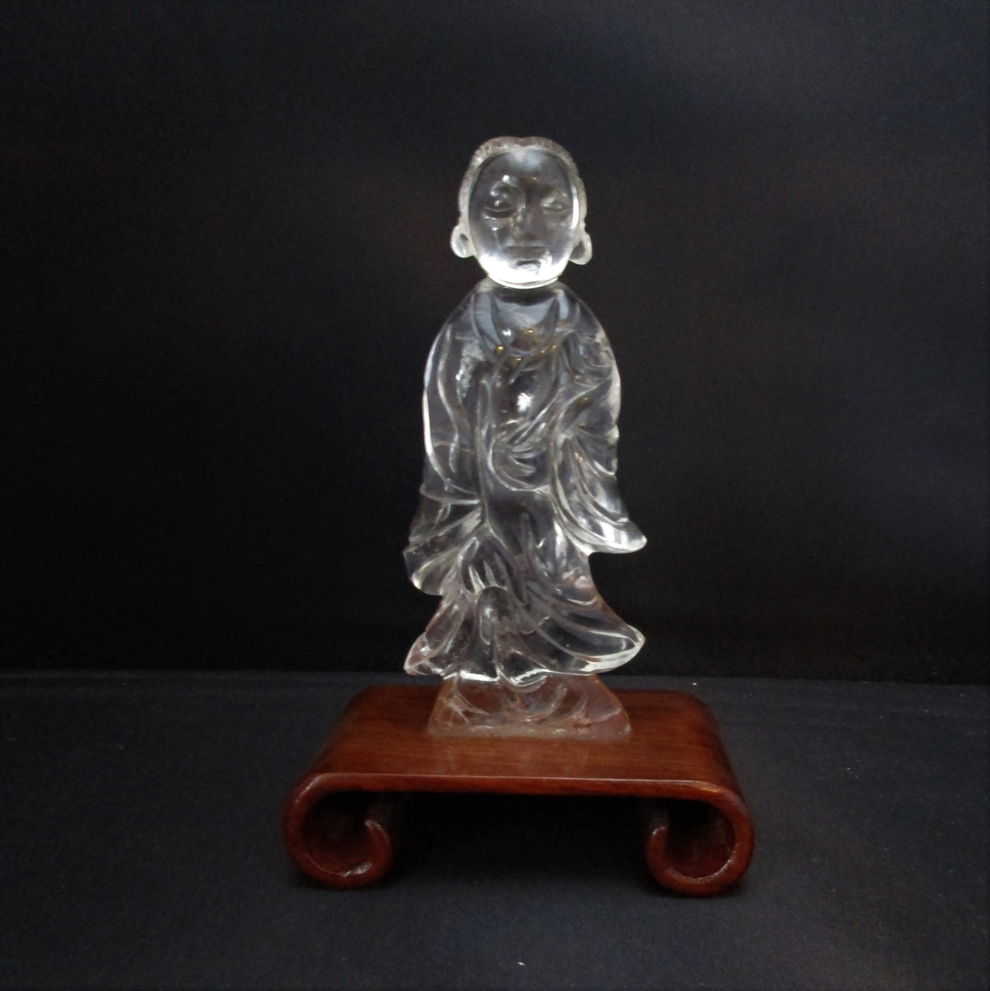 Chinese Carved Crystal Figure of Lady Antique 19th Century.