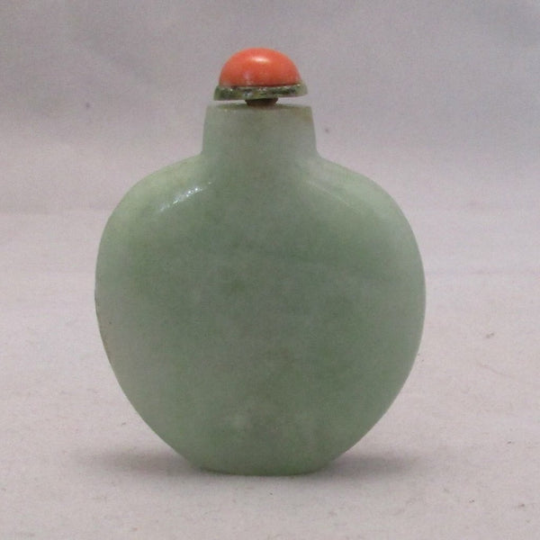 Chinese Green Jadeite Flattened Circular Snuff Bottle With Coral Stopper Antique Early 20th Century