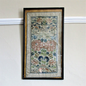 Chinese Hand Embroidered Robe Panels Peking Knot Antique 19th Century.