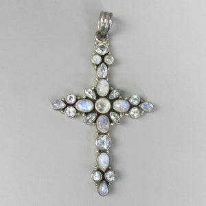 Cross Set with Moonstone and Bluestone Indian Sterling Silver