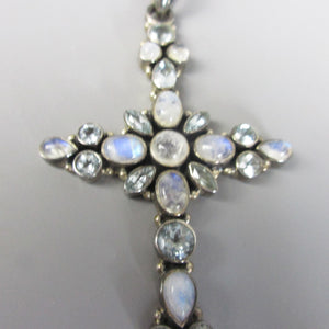 Cross Set with Moonstone and Bluestone Indian .925 Sterling Silver