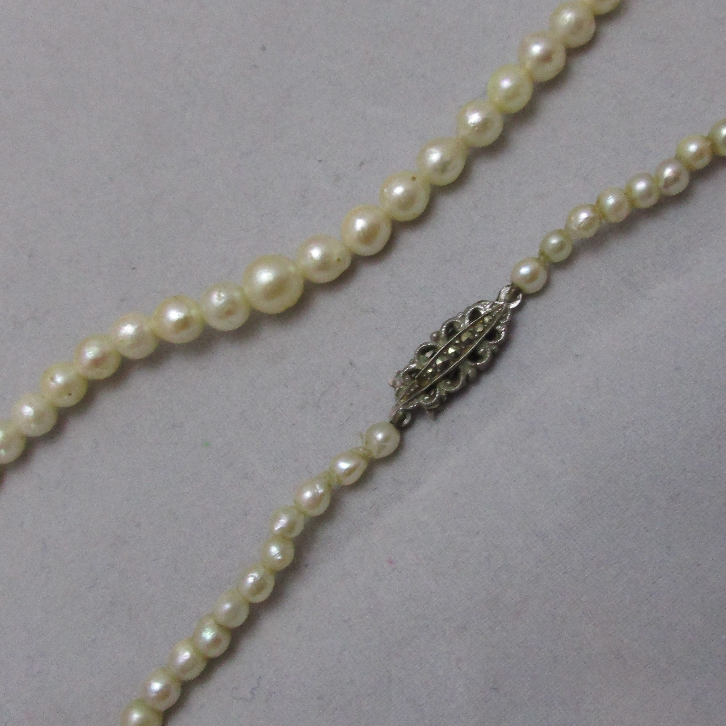 15700e78862dd Cultured Pearl Necklace With Silver Marcasite Clasp Vintage Art Deco c1930.