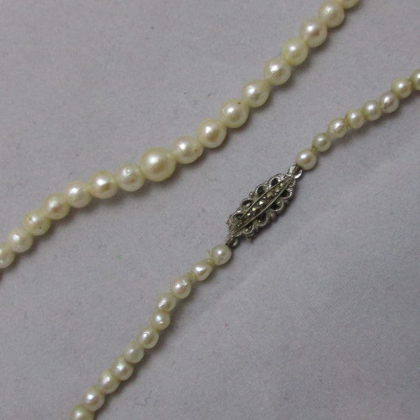 19e37f0a65bc80 Cultured Pearl Necklace With Silver Marcasite Clasp Vintage Art Deco c -  Top Banana Antiques