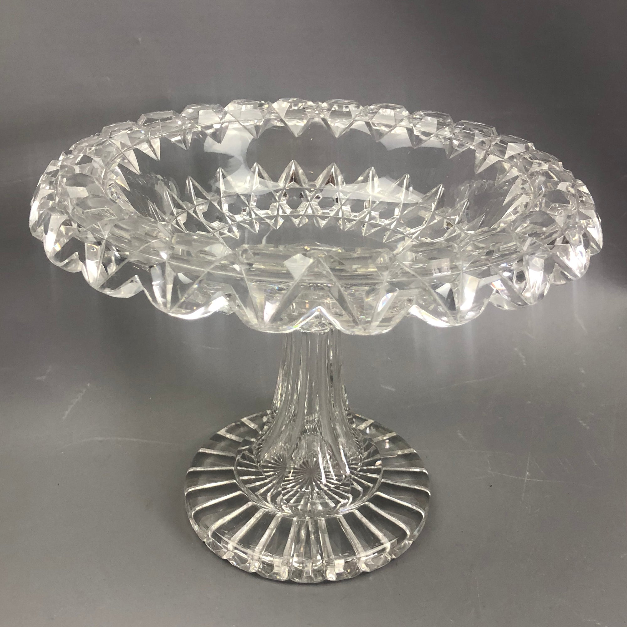 Cut-Glass-Comport-Victorian-Antique-c1900