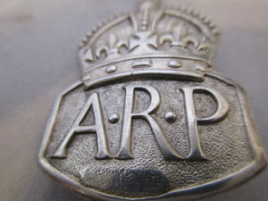 English Silver A.R.P. Badge Vintage c.1937-c.1938.