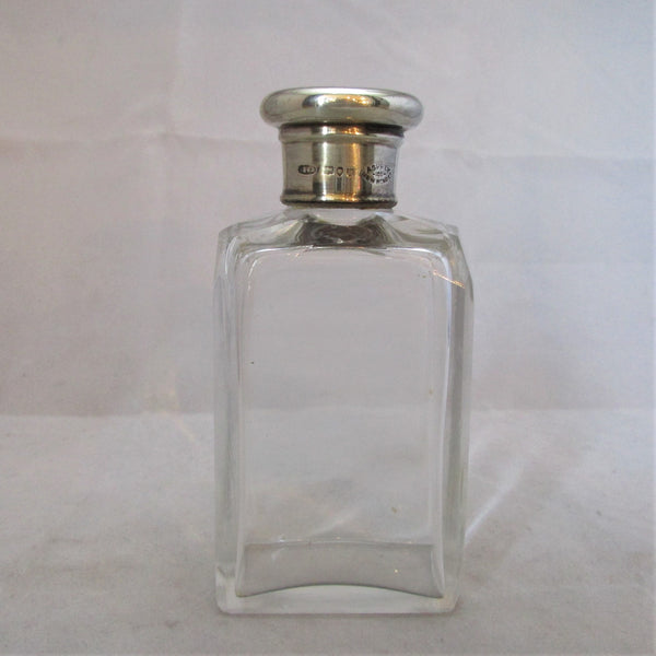 English Silver Topped Cut Glass Bottle Antique c.1892.