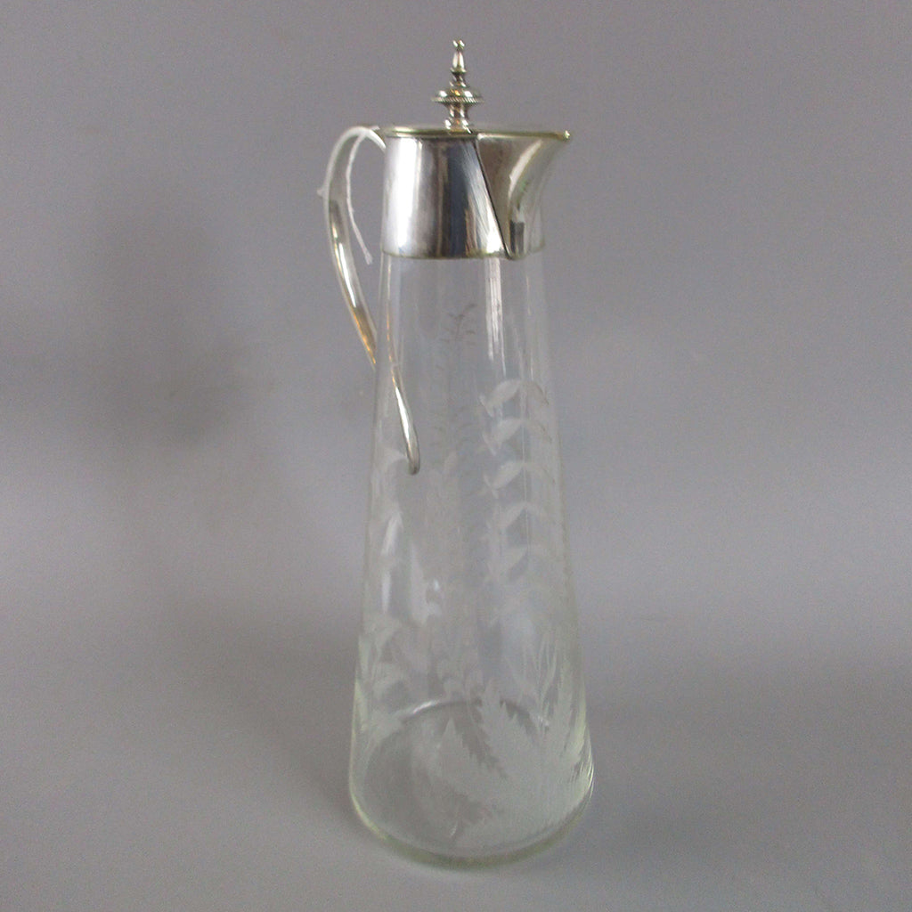 Etched Glass Claret Jug Glass and Silver Plate Antique Victorian c1880