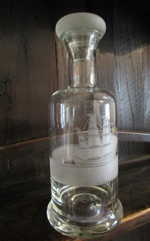 Etched Glass Decanter with Tall Ship Image Vintage.