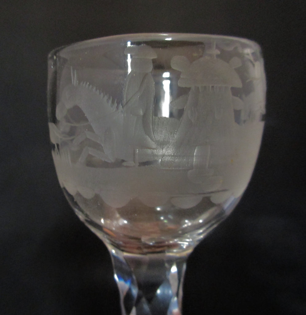 Facet Cut Stem Glass with Engraved Hunting Scene Antique c1770.