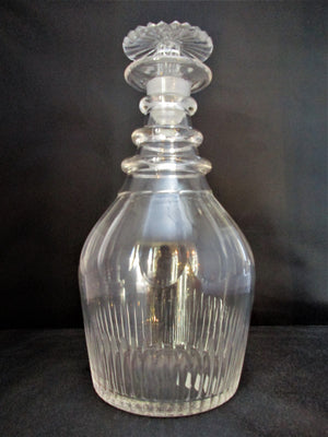 Flute Cut Glass Decanter Antique Georgian C1800.