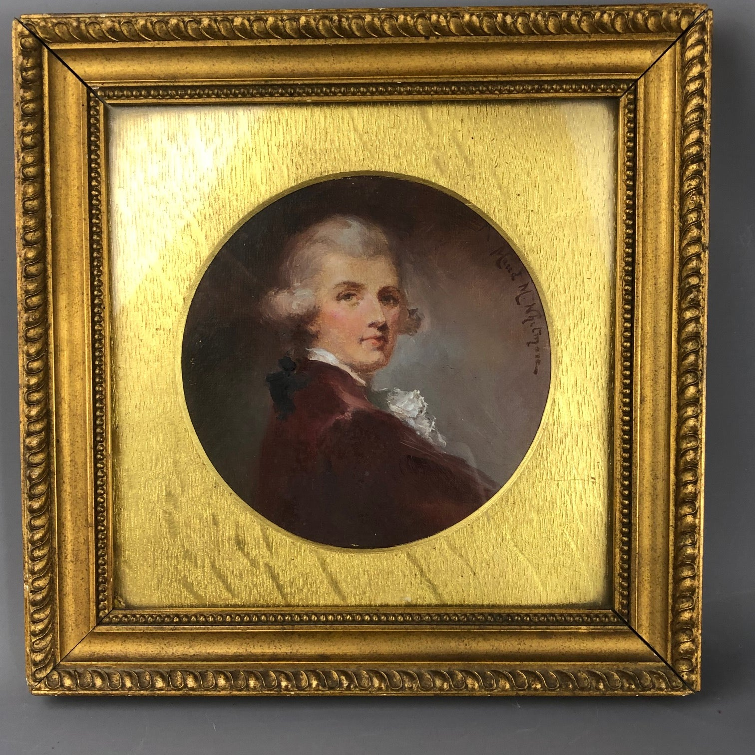 Framed-Oil-On-Canvas-Round-Portrait-Of-A-Gentleman-By-Maud-Whitmore-Antique-Victorian-c1896