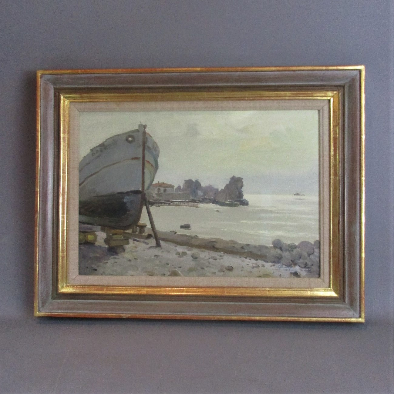 Framed Oil on Card Painting Boat Building on the Don Piotr Soulimenko Vintage c1972
