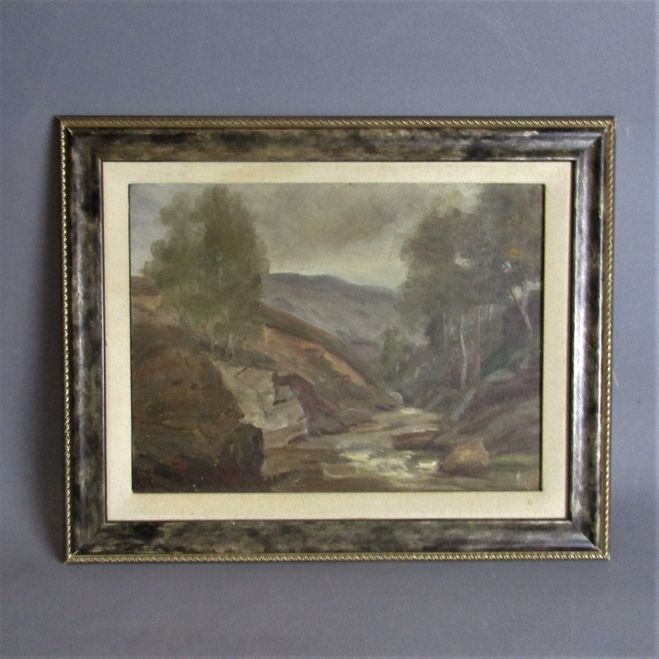 Framed Oil on Board Painting Scottish Landscape Antique c1908