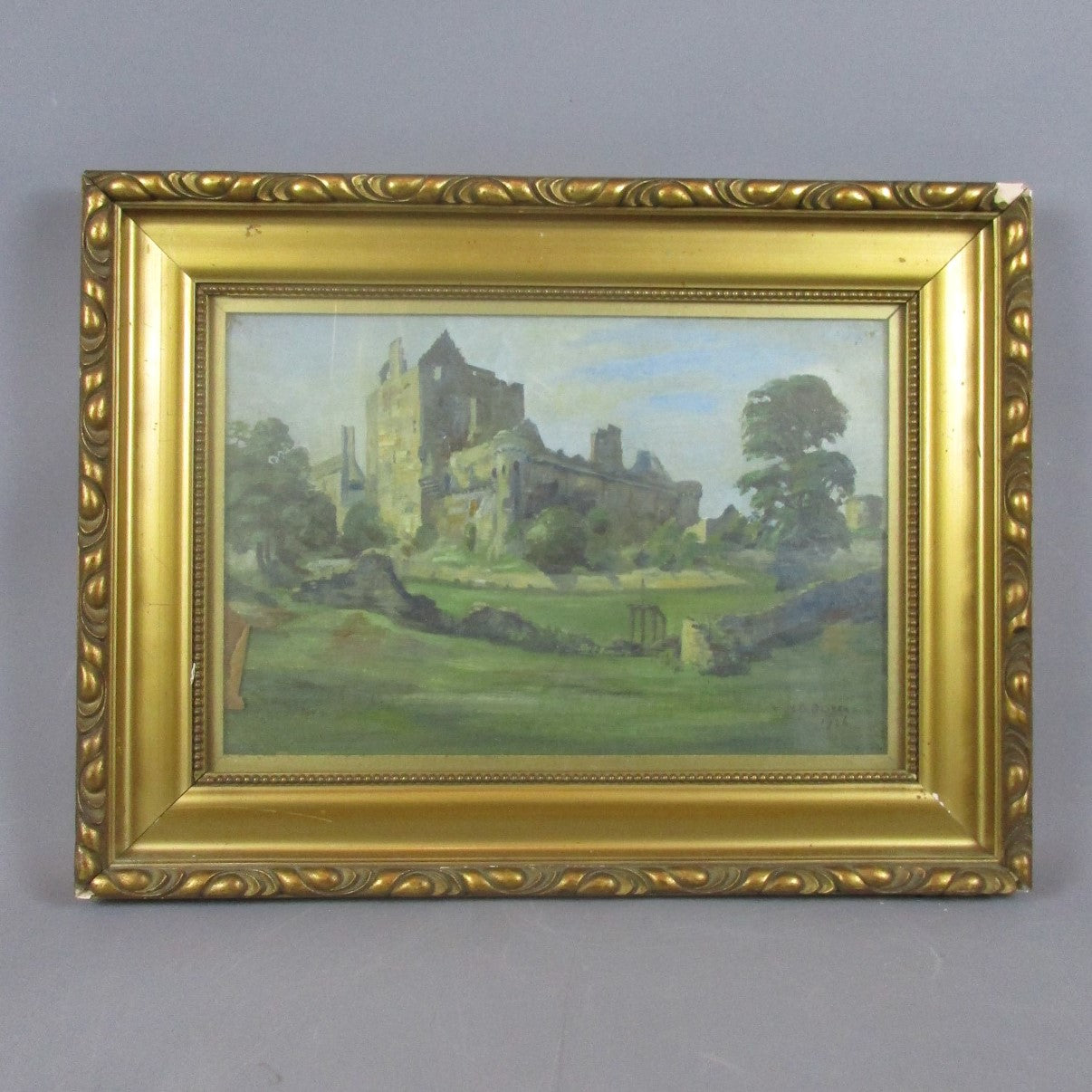 Framed Oil on Canvas Painting of Craigmillar Castle Edinburgh Vintage c1926