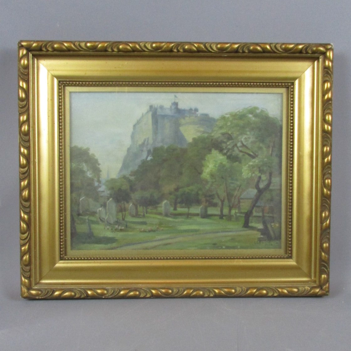 Framed Oil on Canvas Painting of Edinburgh Castle L Oliver Vintage c1926