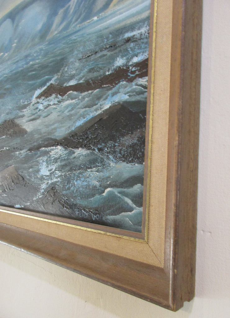 Framed Acrylic Seascape of Seven Sisters by Peter Jones Vintage.