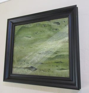 Framed Oil on Board Science Fiction Lunar Landscape Vintage c1960.