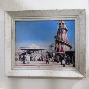 Framed Oil on Board of Fairground in USA Vintage c1950s.