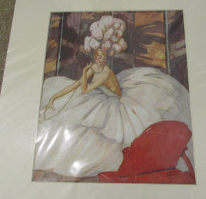 French Art Deco Print Of Performer Vintage c.1920.