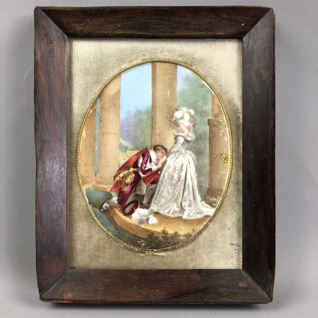 French Painting On Porcelain Romantic Antique c1850