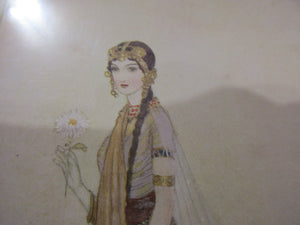 French Print Of Woman Titled Asenath By Edmund Dulac Antique c.1915.