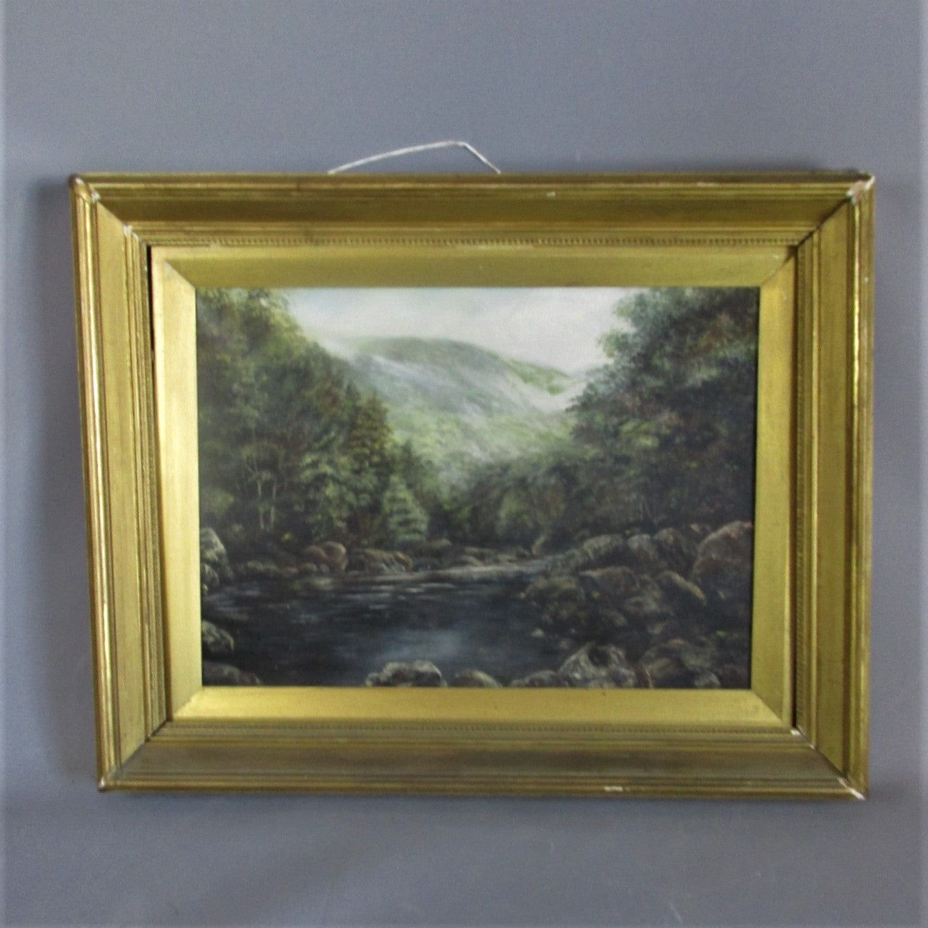 Gilt Framed Oil on Canvas Mountain Stream Antique c1900