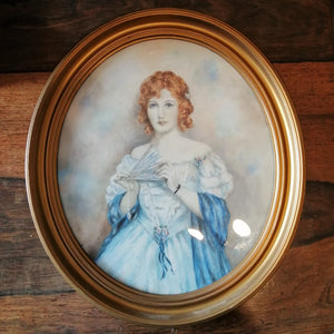 Gilt Framed Watercolour Of A Lady In A Blue Dress Vintage c.1925.