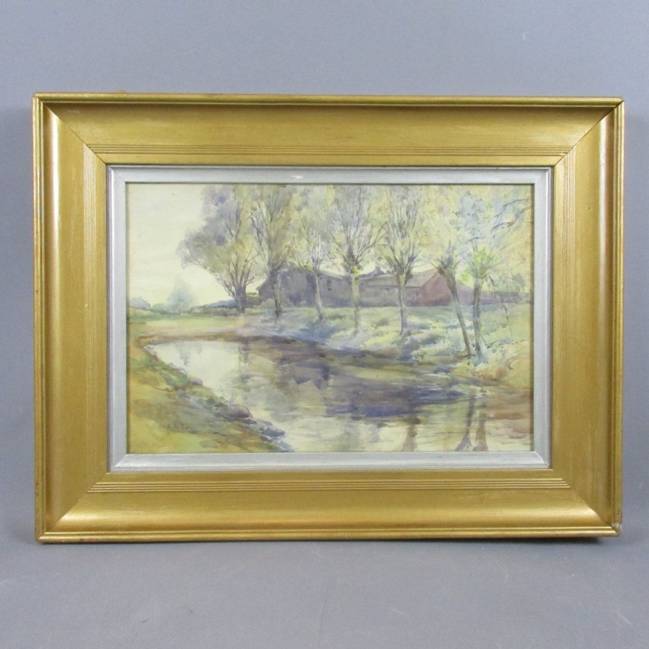 Gilt Framed Watercolour Painting of Riverside by ER Fox Antique c1909