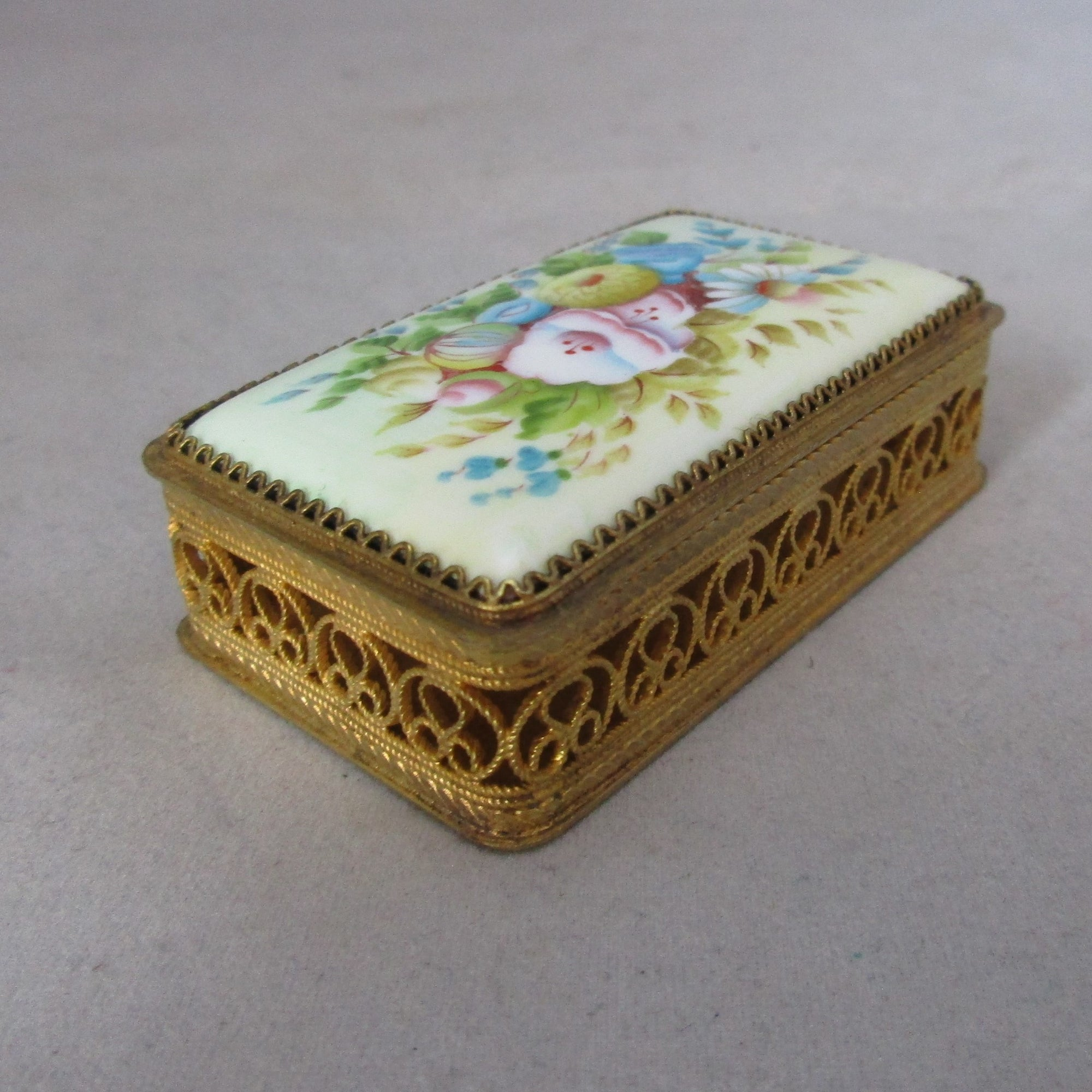 Gilt Filigree Trinket Box with Porcelain Lid Vintage c1950s.