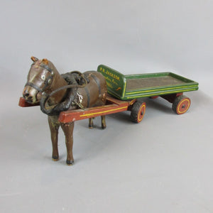 Hand made & Carved Wooden Horse & Cart Model Vintage c1950