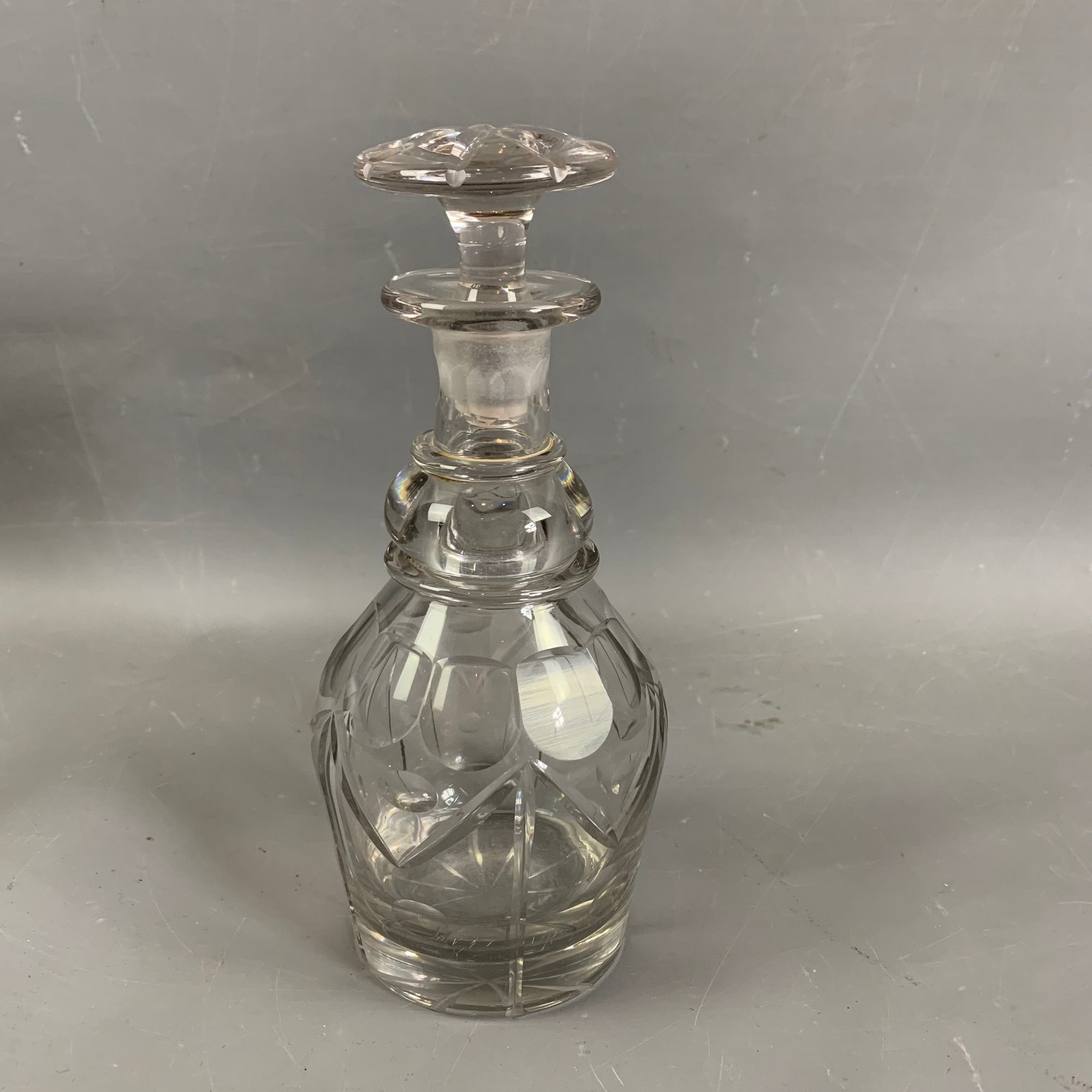 Cut Glass Crystal Glass Decanter With Silver Ring Antique Victorian c1880