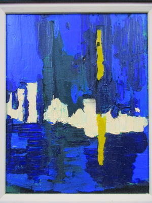 Acrylic on Board Abstract Painting Venetian Scene Contemporary