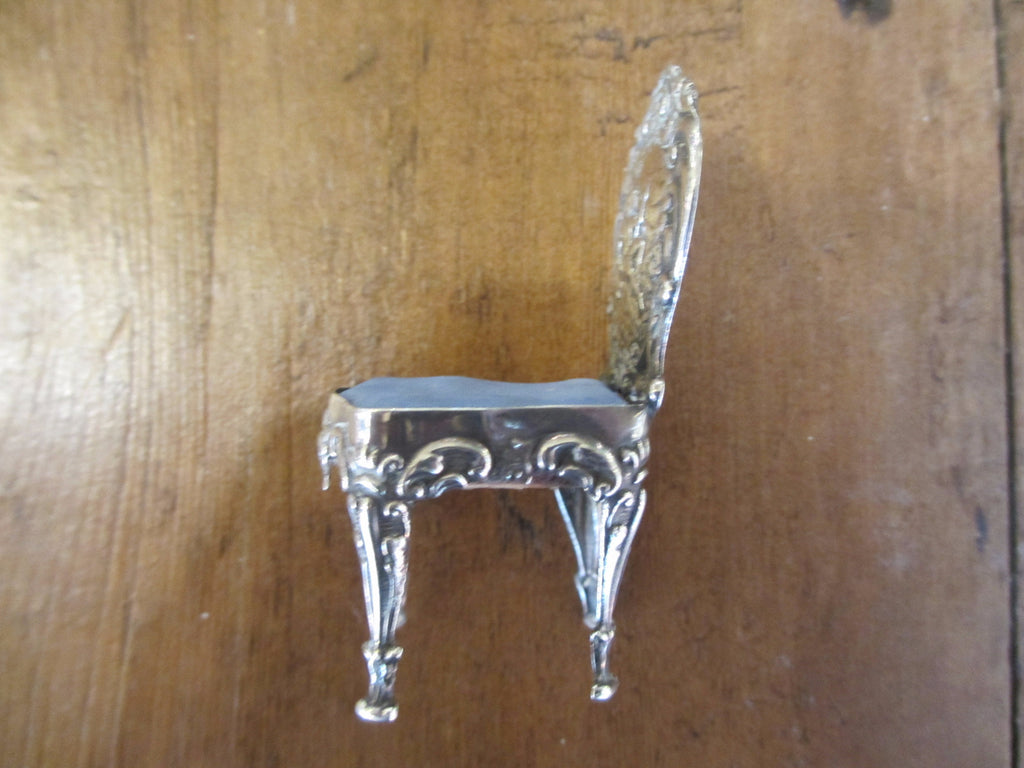 Sterling Silver Doll's House Chair Hallmarked Chester 1902