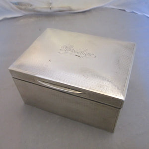 Sterling Silver Bridge Box With Leather Interior London Vintage c1923.