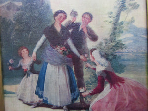 Gilded Frame Oil On Canvas Of A Family Antique Victorian c1880.