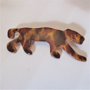 Lea Stein Celluloid Plastic Tiger Brooch Pin Vintage French c1970.