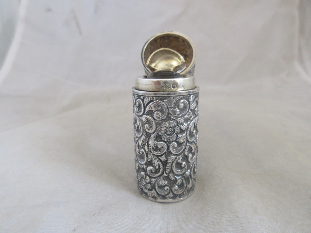 English Sterling Silver Scent Bottle Antique Chester 1895