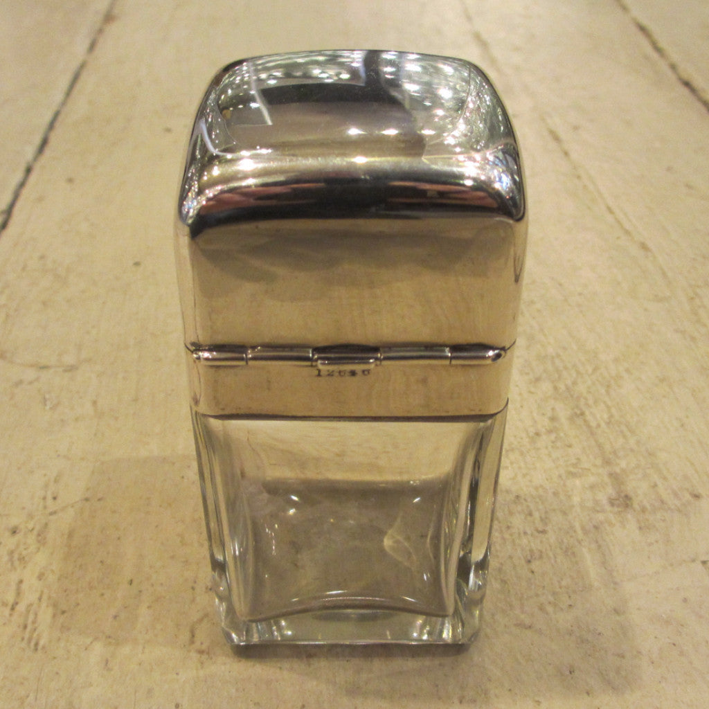 Silver Top Glass Vanity Jar Birmingham 1902 Antique.