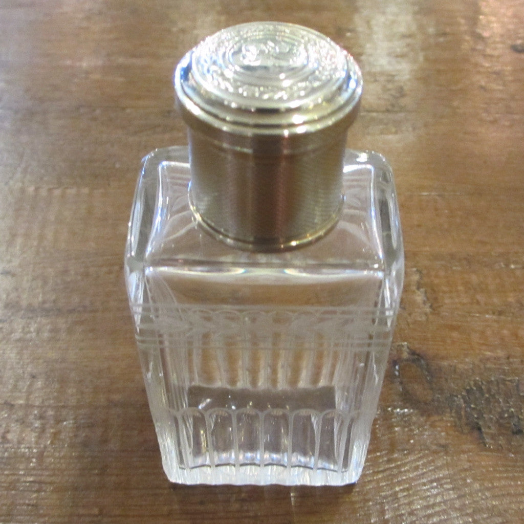 950 Silver Minerva Head Glass Scent Bottle by Gustave Keller circa 1910 Antique.