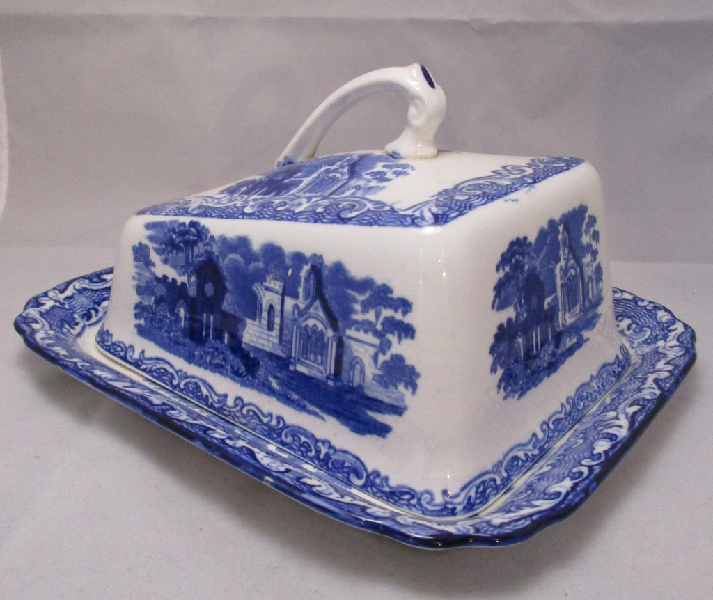 Abbey Ware Blue & White Cheese Dish Antique Victorian