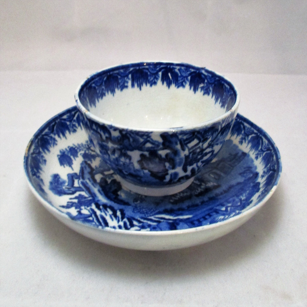 Blue & White Tea Bowl and Saucer Antique c.1790
