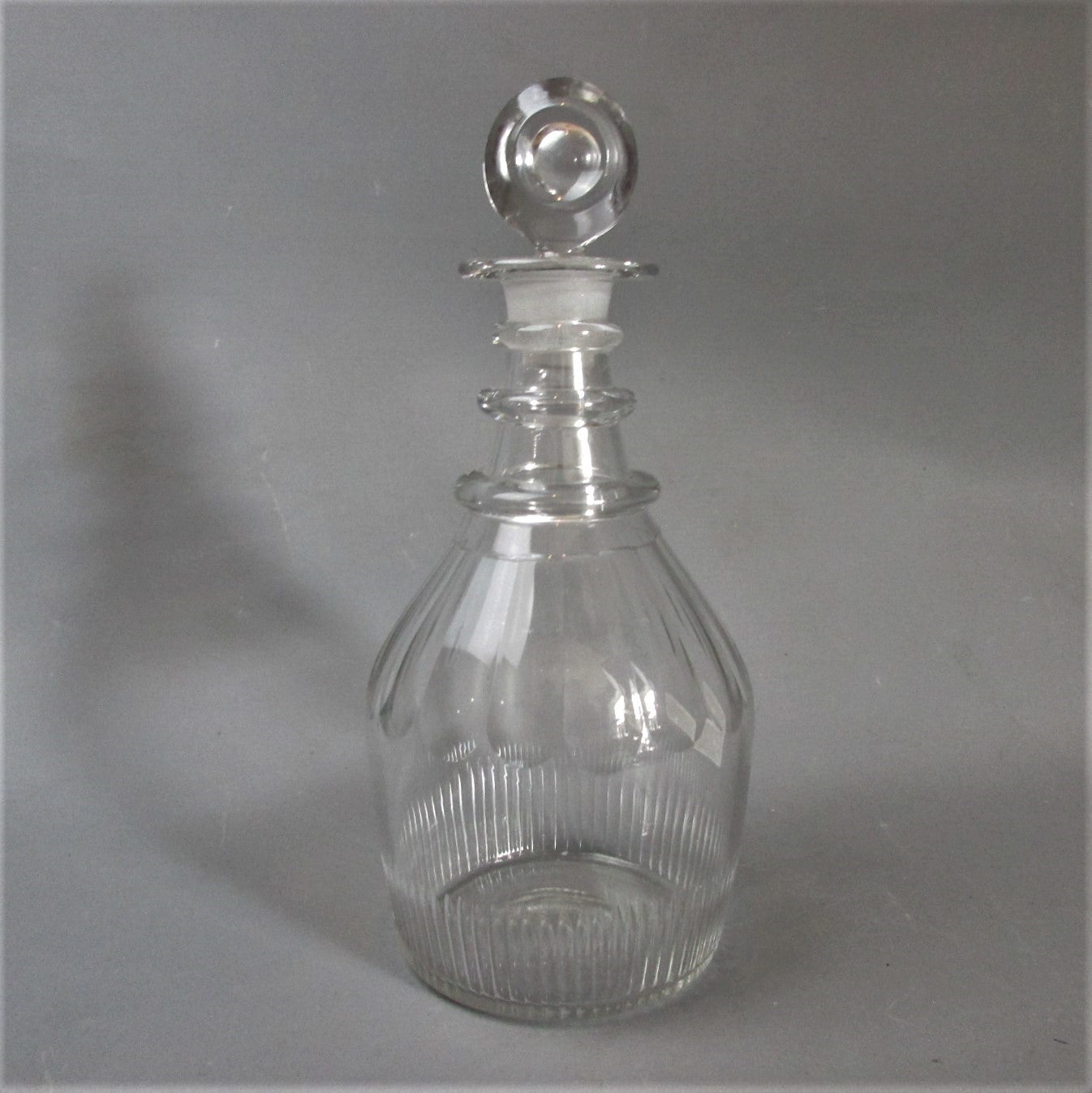 Slice & Flute Cut Glass Decanter Antique Georgian c1800