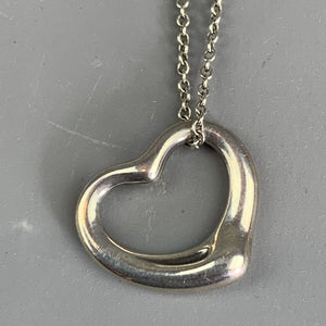 Sterling Silver Pendant Open Heart Necklace By Tiffany & Co