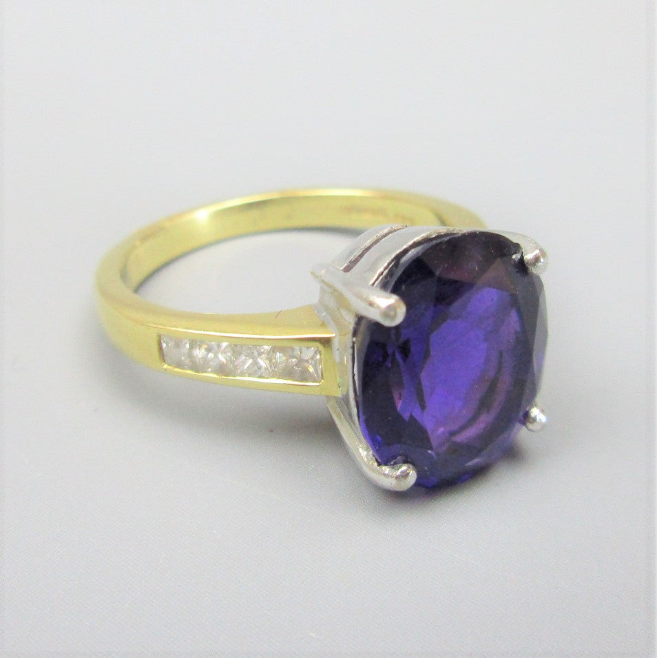 18ct Gold Diamond & Amethyst Solitaire Ring Size: O / 7.5
