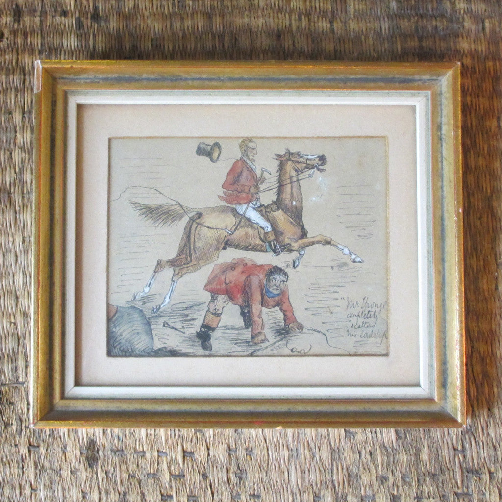Framed Pen and Watercolour sketch 'Mr Sponges' antique Victorian late 19th century.