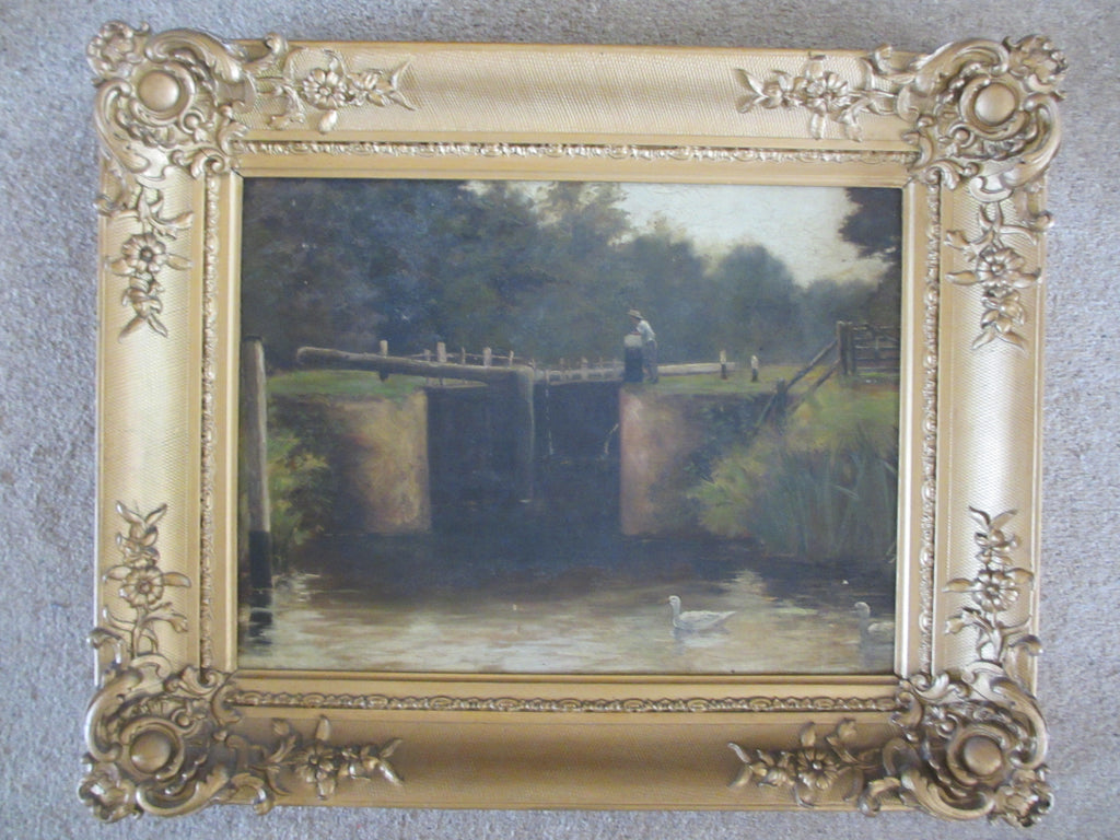 Oil on canvas titled 'Lockgates' artist unknown, antique 19th century.