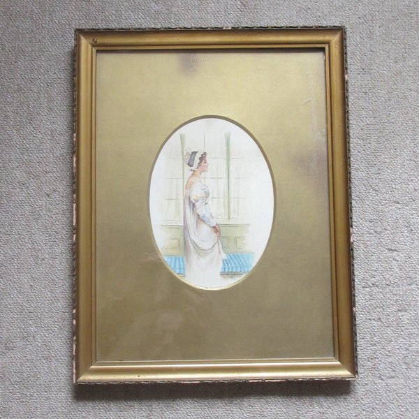 Framed watercolour of girl at window antique dated 1897.