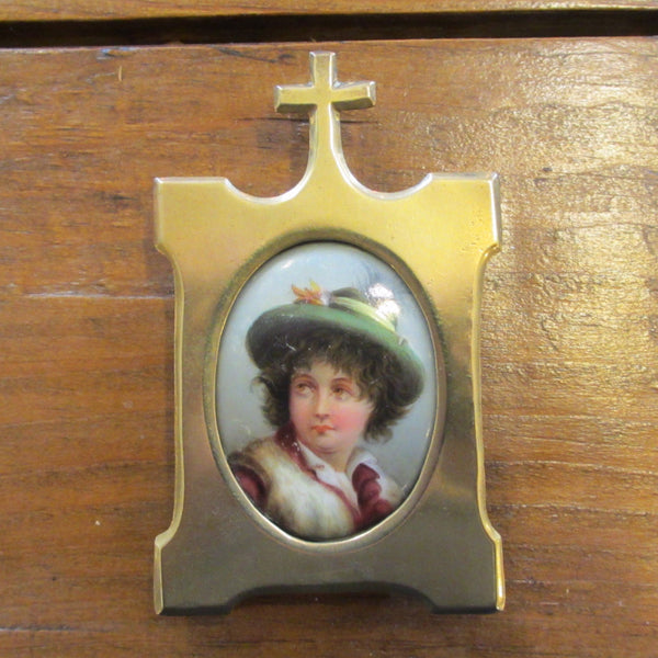 Victorian Hand-Painted Plaque in Brass Frame circa 1890